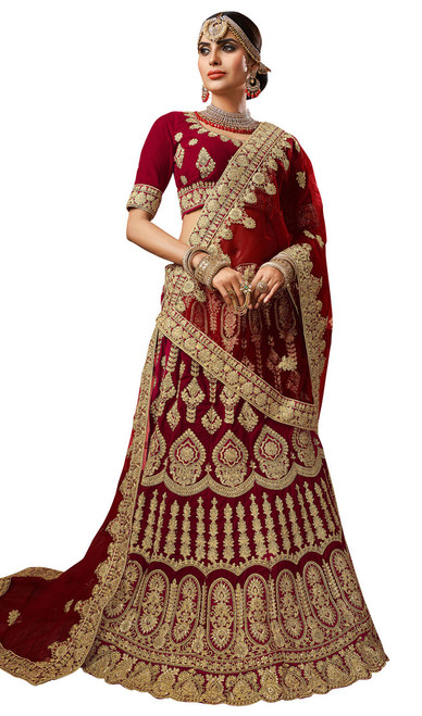Maroon Color Embroidered Velvet Lahenga Choli