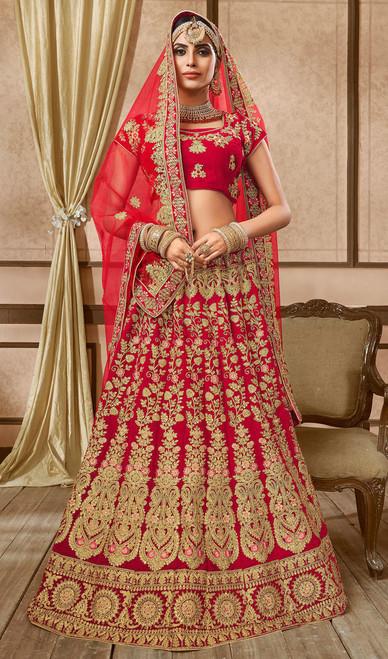 Velvet Embroidered Red Color cholie Skirt