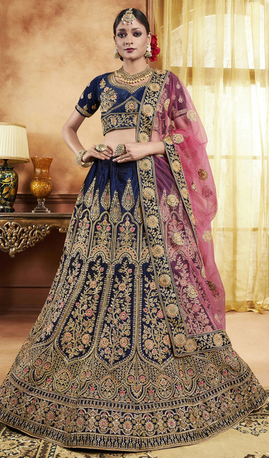 Blue Color Embroidered Velvet Lahenga Choli