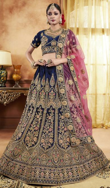 Blue Color Embroidered Velvet Lahenga Choli