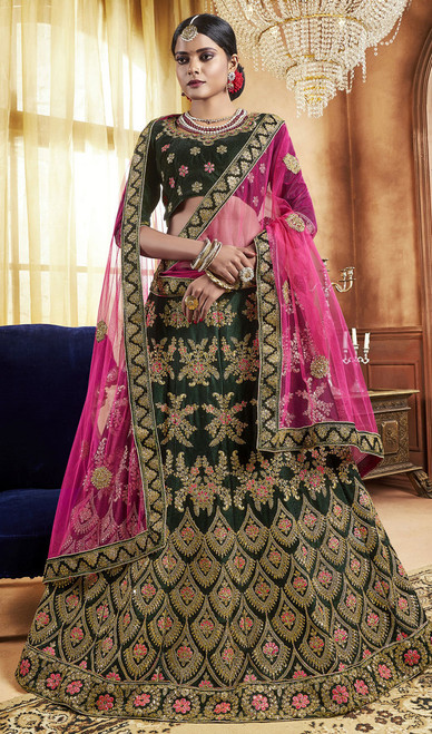 Green Color Velvet Embroidered Lehenga Cholie