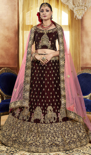 Maroon Color Embroidered Velvet Lehenga Cholie