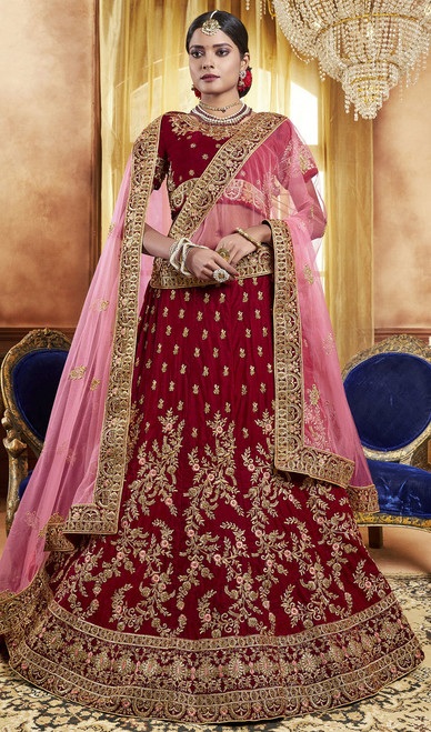 Red Color Embroidered Velvet Lehenga Choli