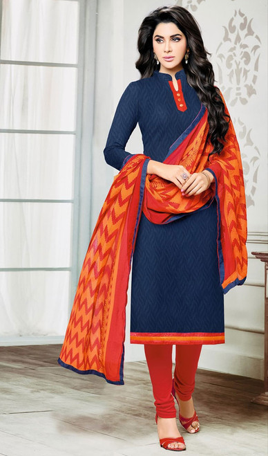 Navy Blue Color Jacquard Embroidered Churidar Suit