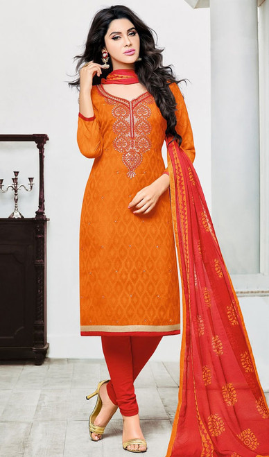 Orange Color Embroidered Jacquard Churidar Dress