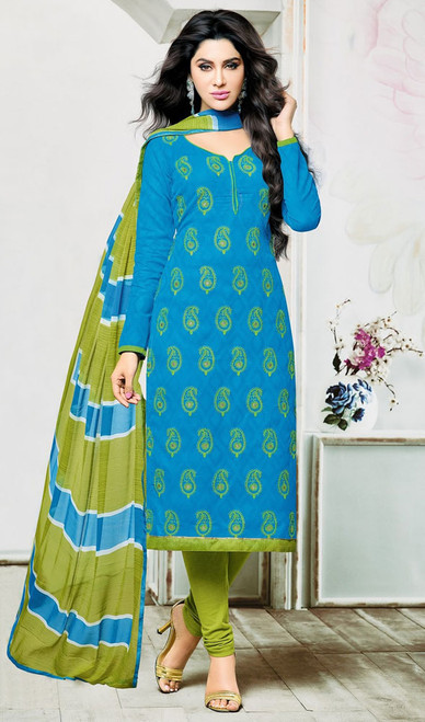 Jacquard Blue Color Embroidered Churidar Kameez