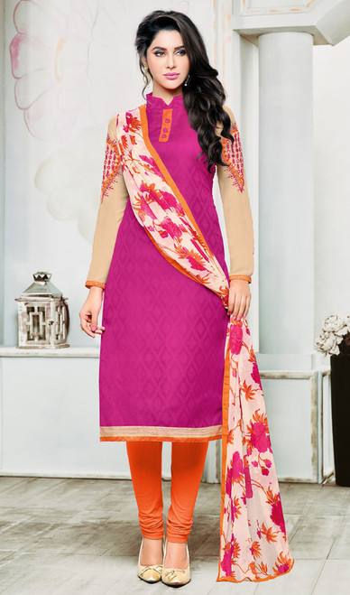 Pink Color Shaded Jacquard Churidar Dress