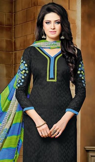 Black Color Embroidered Jacquard Churidar Kameez