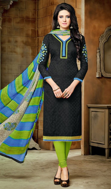 Black Color Embroidered Jacquard Churidar Kameez