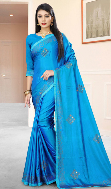Blue Color Silk Embroidered Sari