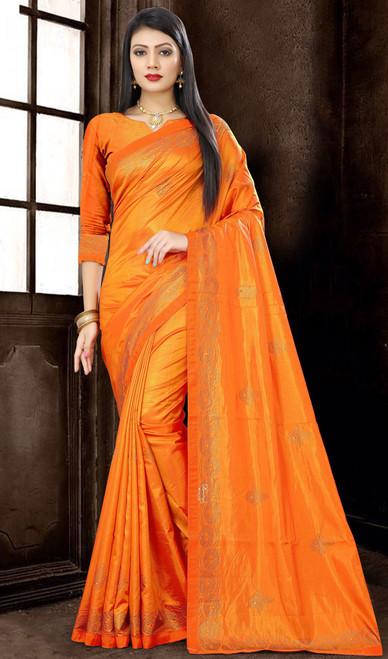 Embroidered Orange Color Silk Sari