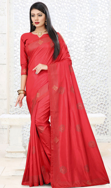 Coral Color Shaded Silk Embroidered Sari