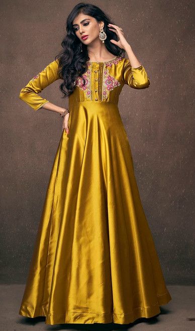 Golden  Embroidered Satin Silk Gown