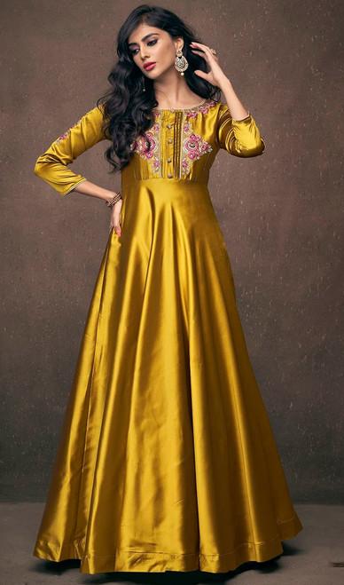 Golden  Embroidered Satin Silk Gown