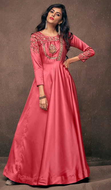 Satin Silk Salmon Color  Embroidered Gown