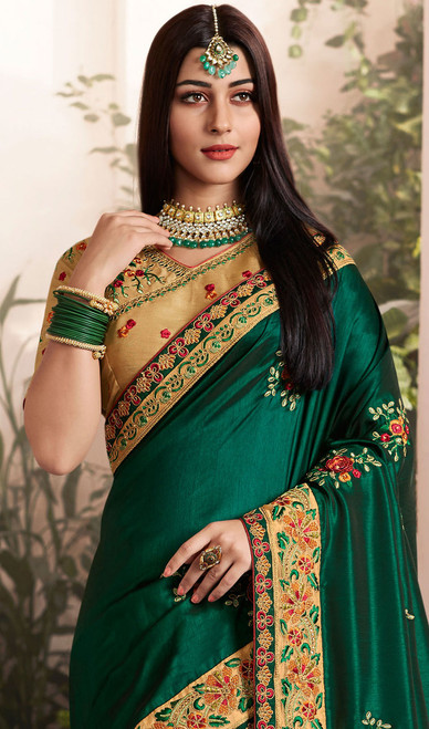 Green Color Embroidered Silk Georgette Sari