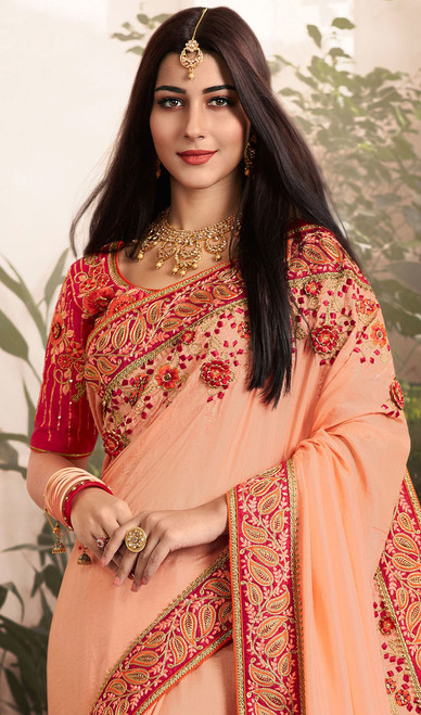 Peach Color Silk Georgette Embroidered Sari