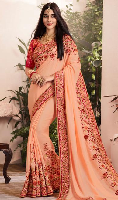 Peach Color Silk Georgette Embroidered Sari
