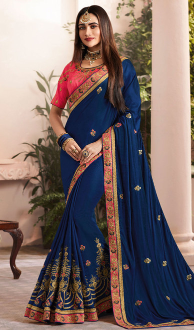 Blue Color Embroidered Silk Georgette Sari