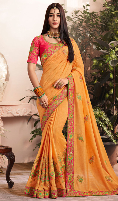 Orange Color Silk Georgette Embroidered Sari
