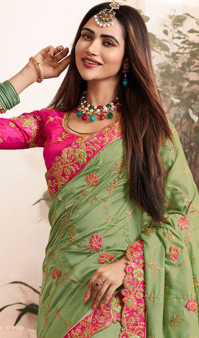 Green Color Silk Georgette Embroidered Sari