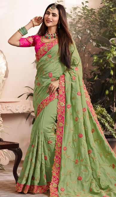 Green Color Silk Georgette Embroidered Sari