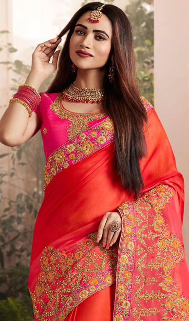 Red Color Embroidered Silk Georgette Sari