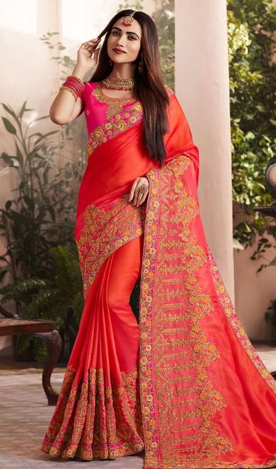 Red Color Embroidered Silk Georgette Sari