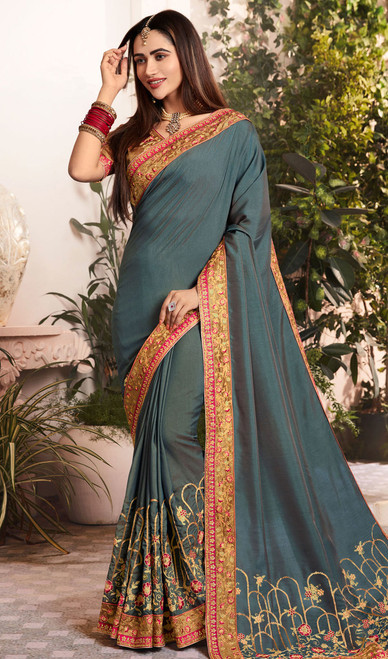 Gray Color Silk Georgette Embroidered Sari