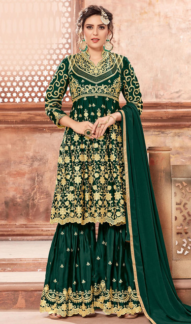 Embroidered Satin Green Color Georgette Palazzo Suit