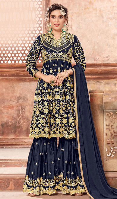 Navy Blue Color Satin Georgette Palazzo Dress