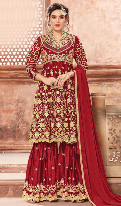 Red Color Satin Georgette Palazzo Suit