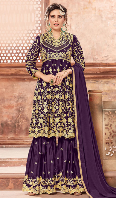 Purple Color Shaded Satin Georgette Palazzo Suit