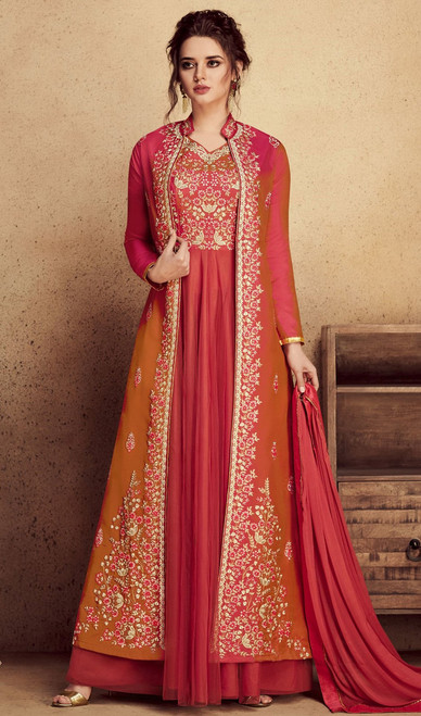 Salmon Color Silk and Net Embroidered Anarkali Suit
