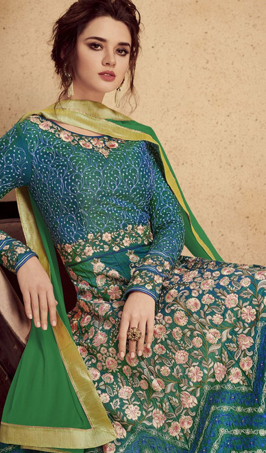 Green Color Shaded Silk  Anarkali Suit