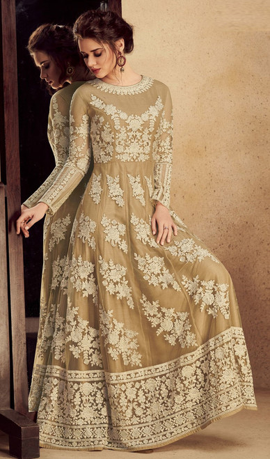 Anarkali Suit in Beige Color Shaded Net and Silk