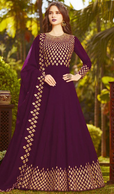 Purple Color Georgette Embroidered Anarkali Suit