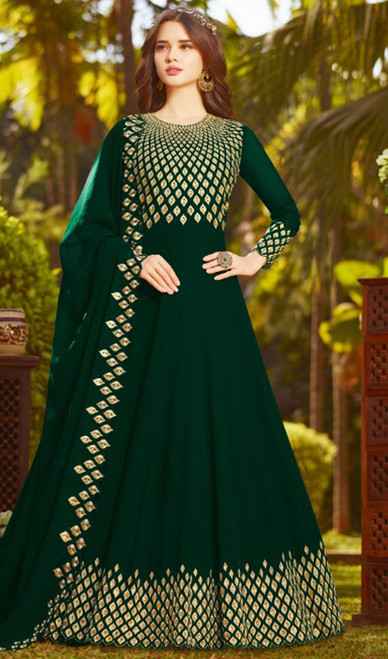 Green Color Embroidered Georgette Anarkali Suit