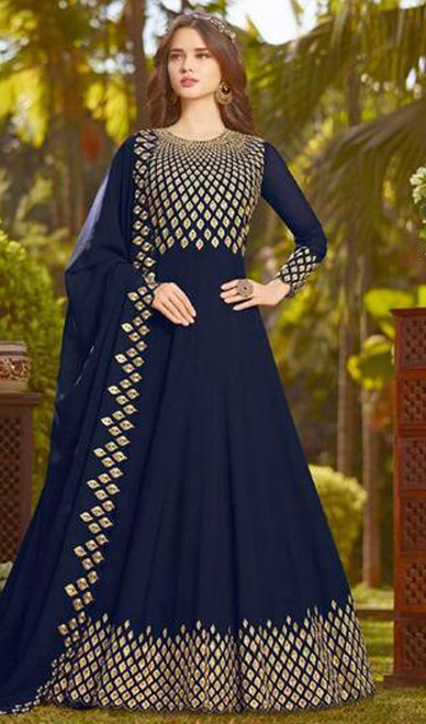 Long Anarkali Suit in Navy Blue Color Georgette