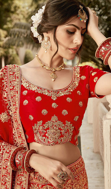 Embroidered Silk Red Color  Lehenga Choli