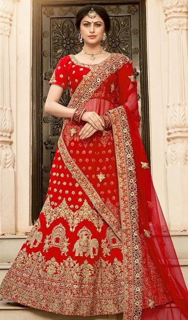 Embroidered Silk Red Color  Lehenga Choli