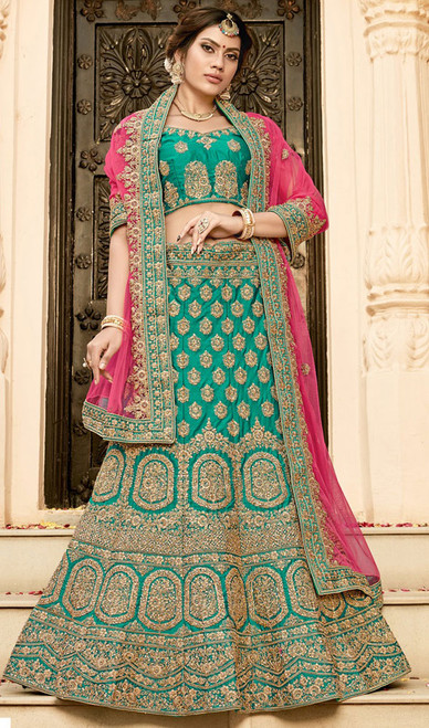 Silk Embroidered Green Color  Choli Skirt