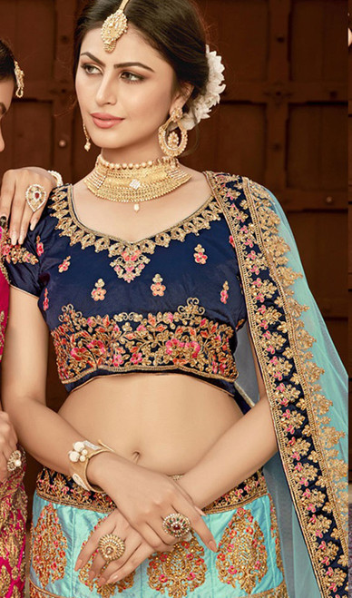 Turquoise Color Shaded Silk Lahenga Choli