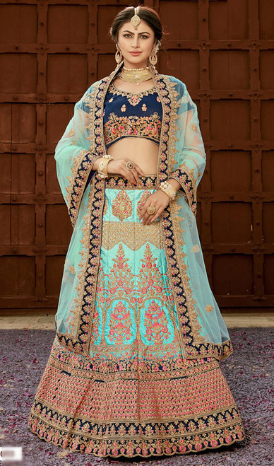 Turquoise Color Shaded Silk Lahenga Choli