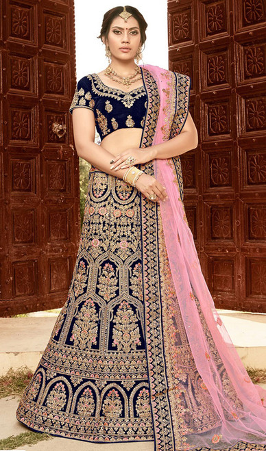 Blue Color Shaded Velvet Lahenga Cholie
