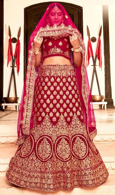 Lehenga Choli in Red Color Shaded Velvet