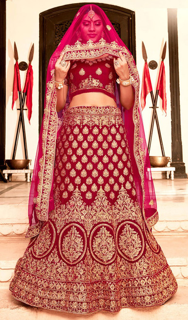 Lehenga Choli in Red Color Shaded Velvet
