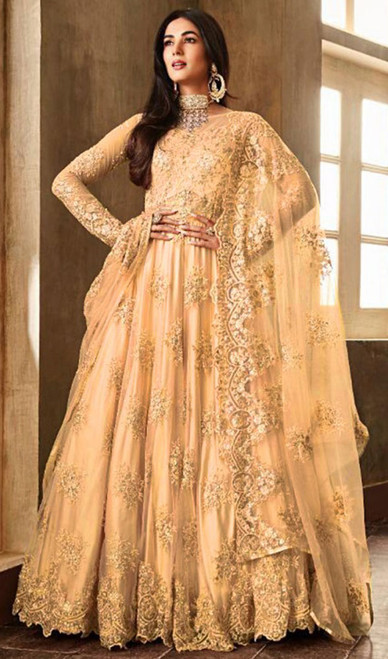 Light Orange Color Shaded Net Embroidered Anarkali Suit