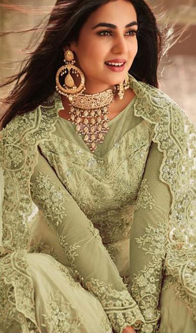 Embroidered Green Color Net Anarkali Suit