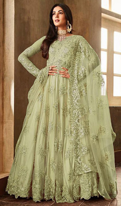 Embroidered Green Color Net Anarkali Suit